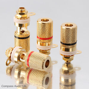 8-Gold-Speaker-BINDING-POSTS-for-4mm-Banana-Plugs-NEW