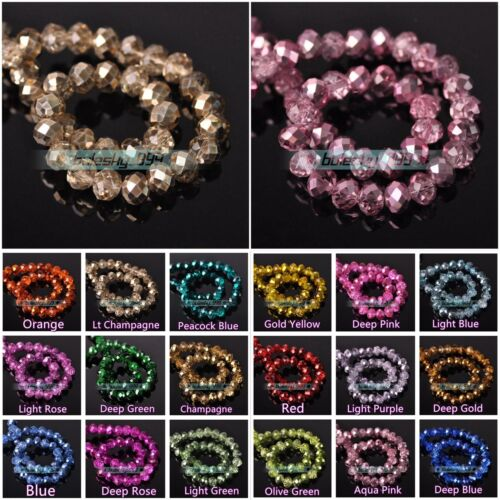 Beads - Wholesale Crystal Glass Faceted Rondelle Loose Spacer Beads 4mm 6mm 8mm 10mm