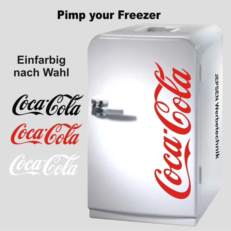 Aufkleber Coca Cola 50cm für Kühlschrank, Kühltruhe Tür ...  Farbe nach Wahl