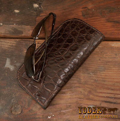 Brown Genuine Alligator Soft Eye Glasses / Sunglasses Case Made With Real Gator