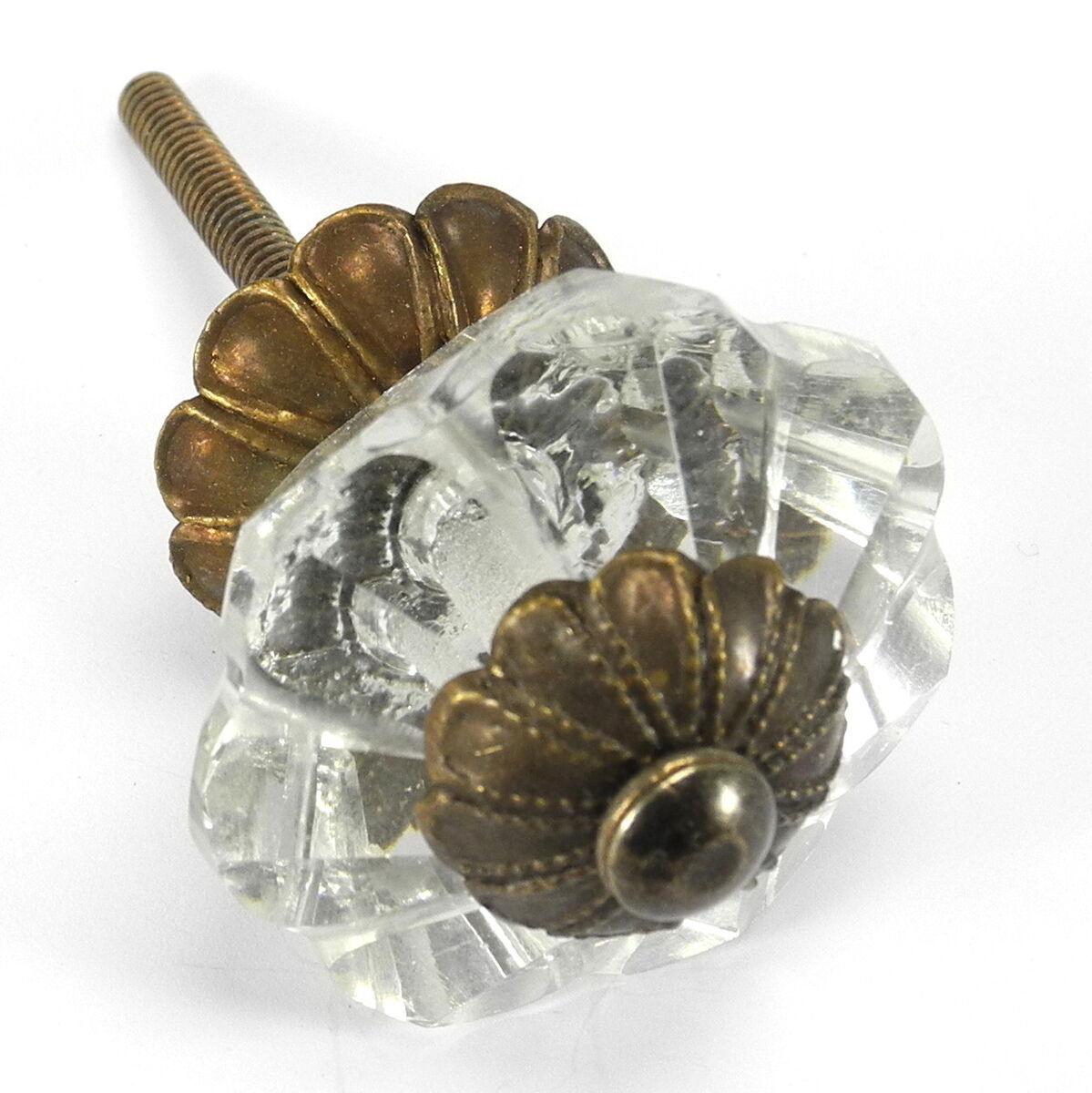 Clear Glass Cabinet Knobs Kitchen Drawer Pulls Art Deco Flower Handle K164 F