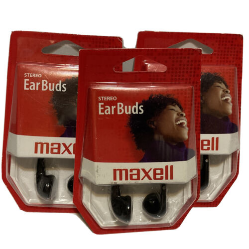 Maxell PL-1 Lightweight Stereo Earbuds Headphones Lot of 3 N