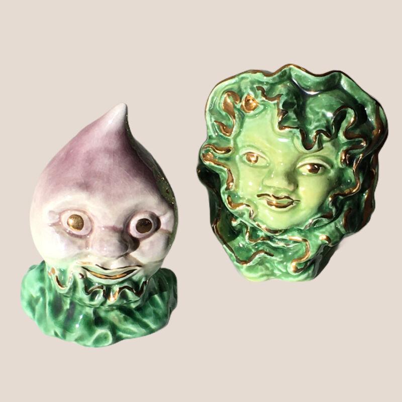 1951 VALLONA  STARR Anthropomorphic Salt & Pepper Shakers Cabbage Rutabaga Rare