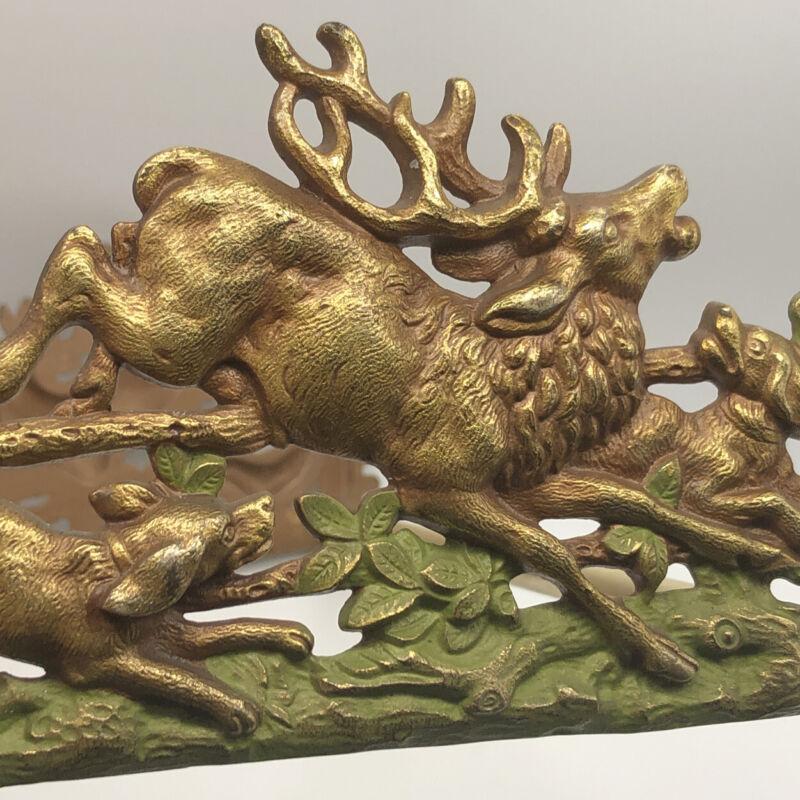 Elk Deer Hunting Dogs Brass Cast Iron Sliding Bookends Bradley & Hubbard 805