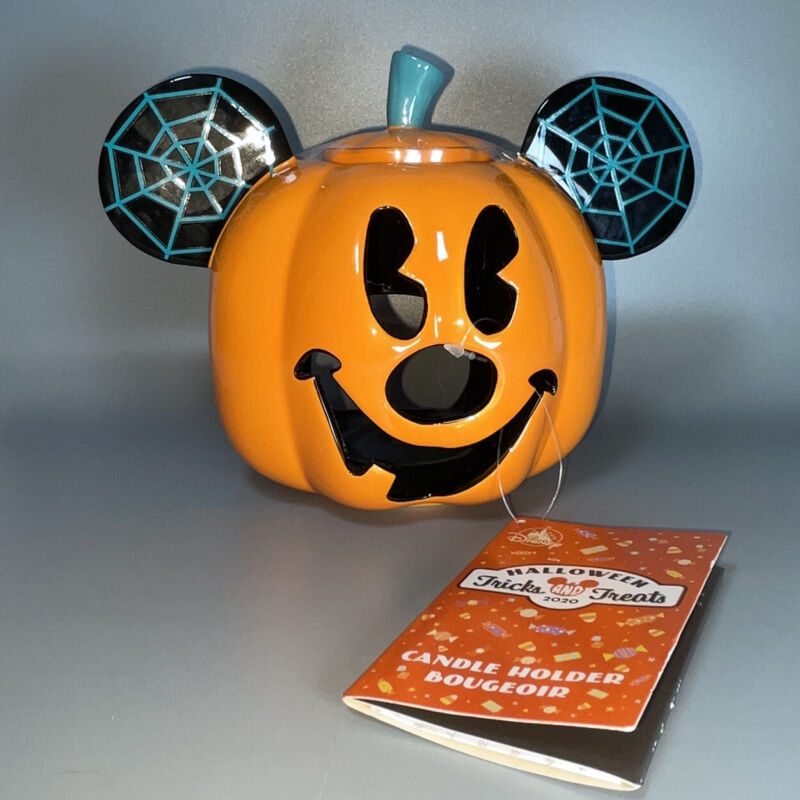 Disney 2020 Halloween Mickey Mouse Pumpkin Jack O Lantern Candle Holder Ceramic