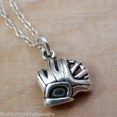 Tiny Catchers Mitt Charm Necklace - 925 Sterling Silver Baseball Softball Glove