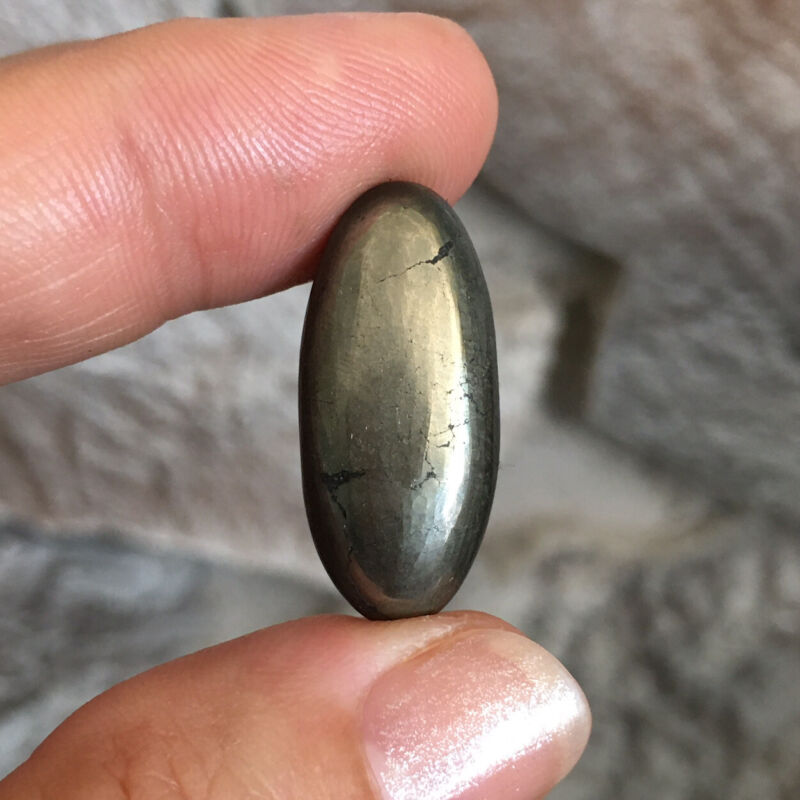 26.5x12x5.7mm Golden Pyrite Oval Cabochon Loose Stone