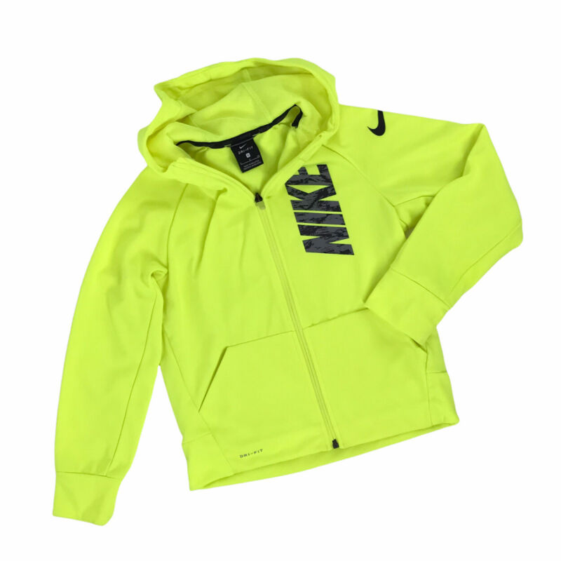 Nike Neon Yellow Full Zip Hoodie Spellout Logo Jacket Boys Youth Size Small
