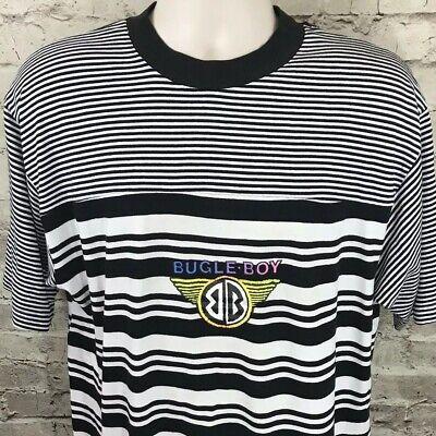 Vintage Bugle Boy Men's Sz L Horizontal Striped T-Shirt Black/White Screen