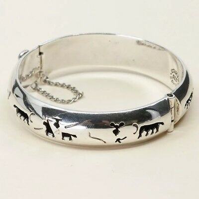 "6"", Taxco Sterling 925 Silver Hinged Bangle with Animal Cut Out N Secure Chain"
