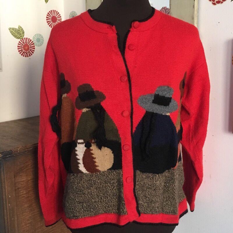 Vtg Folk Art Sweater Novelty Southwestern Cardigan Red Ecuadorian M/L Peruvian