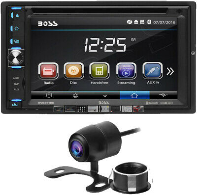 Boss 2 DIN Bluetooth In-Dash Car Stereo Receiver+Power Acoustik Backup Camera