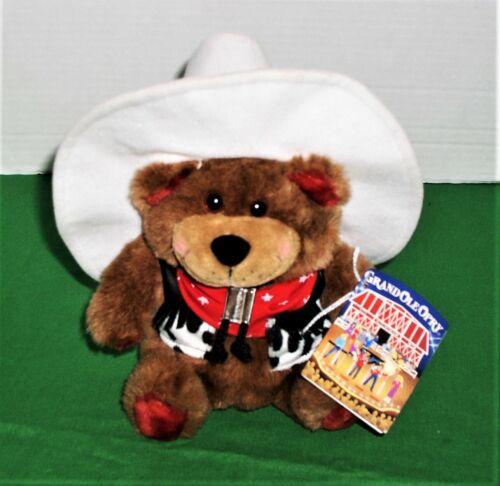 Grand Ole Opry Mascot HOOCH Cowboy Plush Bear~ White Hat-Bandana-Vest LN w/Tags