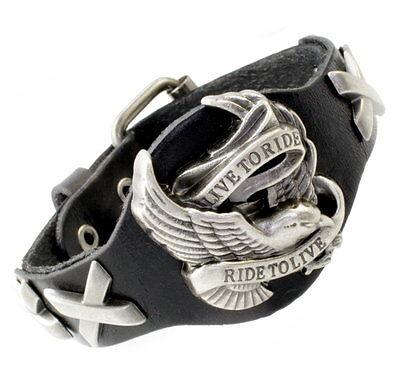 Ride Eagle (A36b Leder Armband Armreif Biker Chopper Bracelet Men Harley Eagle LIVE TO RIDE)