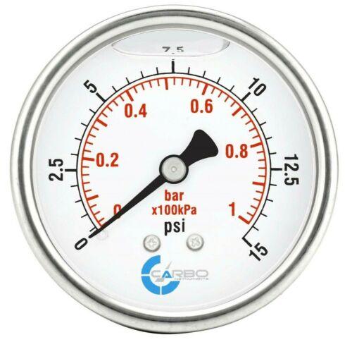"2-1/2"" Pressure Gauge, ALL STAINLESS STEEL, Liquid Filled, Back Mnt, 15 Psi"