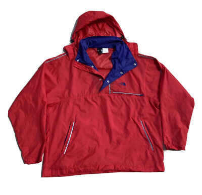 Vintage The North Face Black Label Red Packable Anorak Windbreaker Mens XL