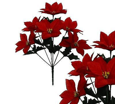 Lot of 144 Red Classic Poinsettia Bushes Christmas Decor Artificial Flower Home