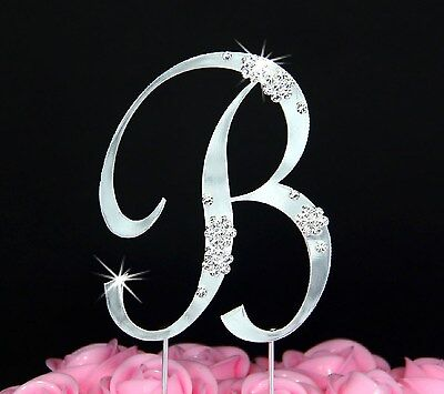 French Flower Crystal Wedding Cake Topper Top Letter (Wedding Cake Tops)