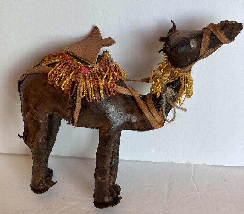 Vintage Handstitched Leather Camel w/ Saddle