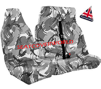 VAUXHALL VIVARO - GREY CAMOUFLAGE WATERPROOF VAN SEAT COVERS 2+1