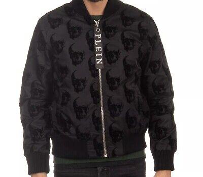 philipp plein RRP €1475 bomber jacket size L limited edition velour skull