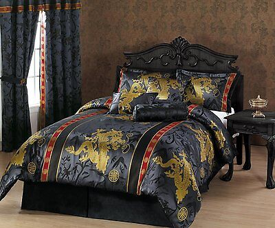 Bedding Comforter Set Bed in a Bag King Size Luxurious Gold Black Asian 7 pcs Asian King Size Bed