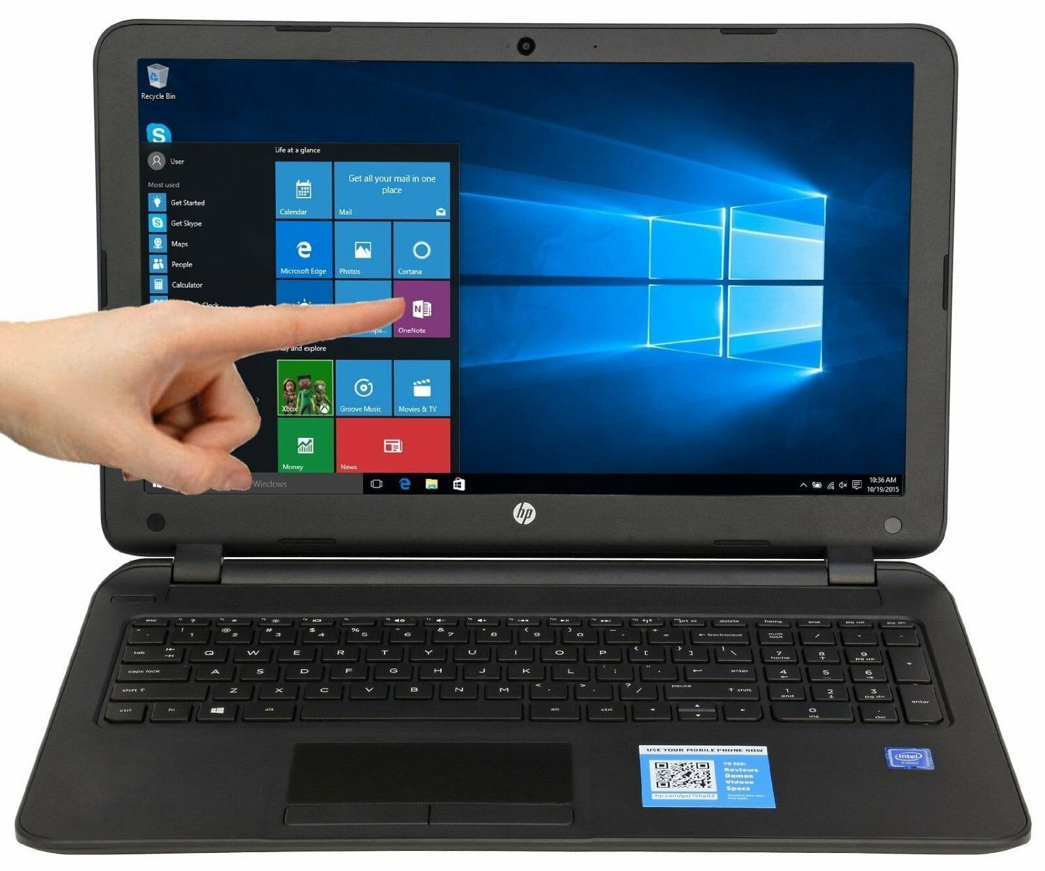 New HP 15.6 Touch screen Laptop Intel/4GB/500GB/Win 10/DVD-RW/HDMI/WiFi/Webcam