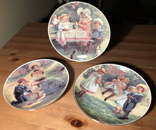 royal vale d 873 set 3 decorative victorian children plates england bone china