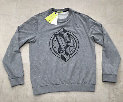 Versace Jeans Mens Logo Grey Sweatshirt Jumper Size L BNWT RRP £154 Tech Fleece