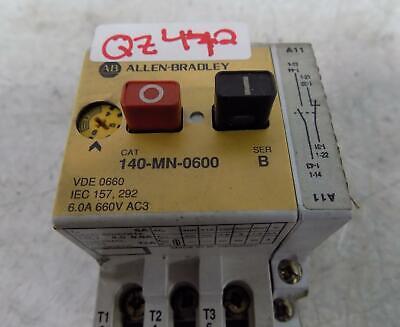 Allen Bradley 6.0a Motor Starter 140-mn-0600 Ser. B W Auxillary Switch 140-a11