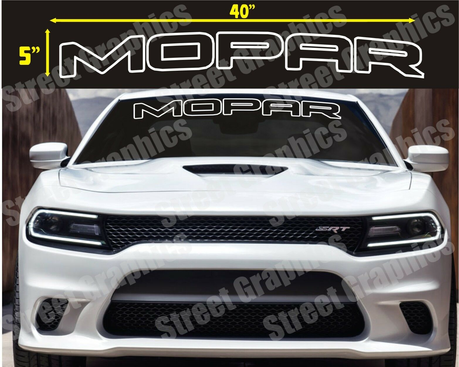 MOPAR TOP WINDSHIELD VINYL DECAL STICKER BANNER CHARGER RAM ETC CHALLENGER