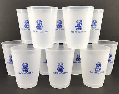 Frosted Plastic Cups (Ritz Carlton Frosted Plastic Tumblers Set of 12 Reusable 16 oz Cups)