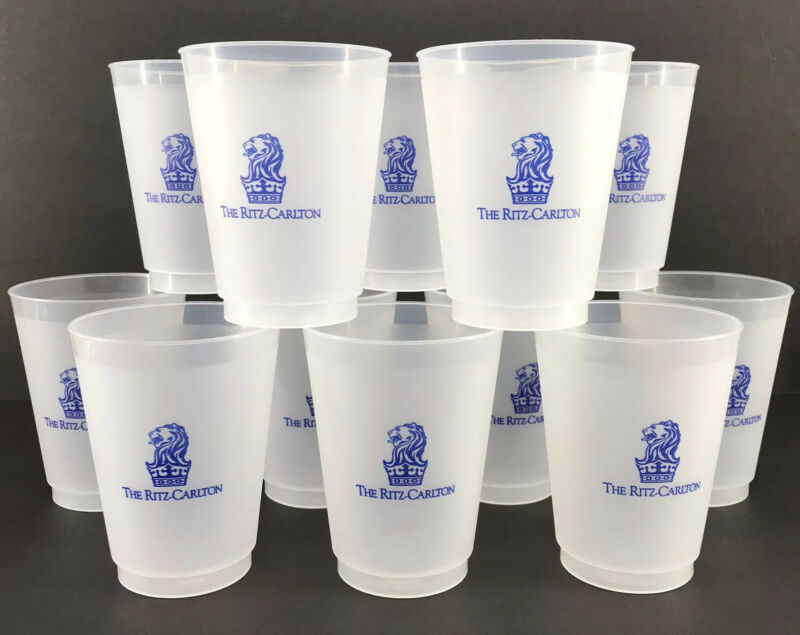 Ritz Carlton Frosted Plastic Tumblers Set of 12 Reusable 16 oz Cups New