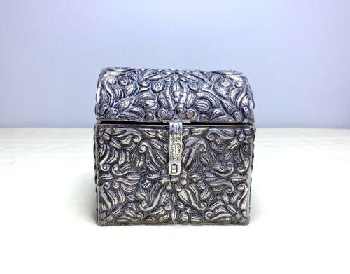 Vintage Large Sterling Silver Floral Ornate Dresser Vanity Box