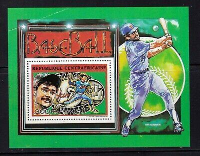 Central Africa Republic Souvenir Sheet #C349, MNHOG w/ crease, Baseball, Yankees