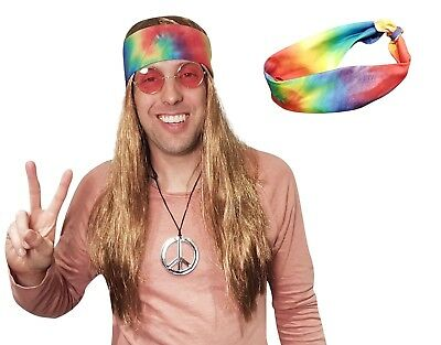Hippie Wig w/ Tie Dye Bandana 60s 70s Hippy Woodstock Festival Party Costume! - 70s Men Costumes