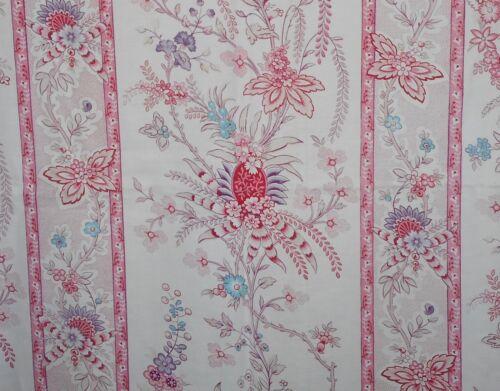 Vintage French Indienne Floral Stripe Cotton Fabric #2~ Blue Pink Lavender