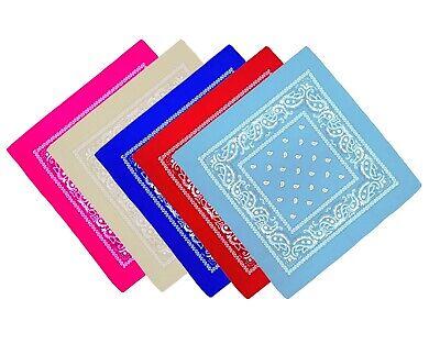 Bandana Paisley Kopftuch Halstuch 5er Set - Rot,Hellblau,Royal Blau,Pink,Beige