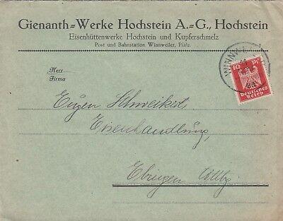 WINNWEILER HOCHSTEIN, Briefumschlag 1926, Gienanth-Werke Hochstein AG