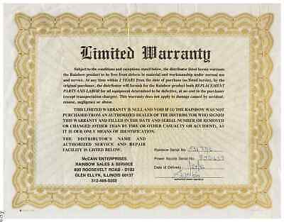 VINTAGE PAGE OF WARRANTY FOR .McCAIN ENTERPRISES - RAINBOW SALES AND SERVICE