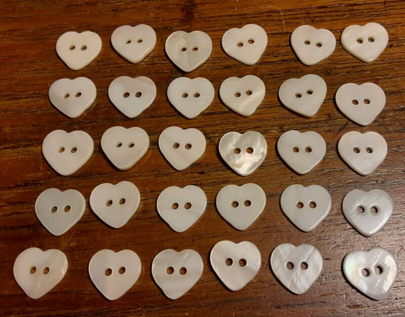 30 Vtg JHB International Realistic Novelty BUTTONS Mother of Pearl MOP HEARTS