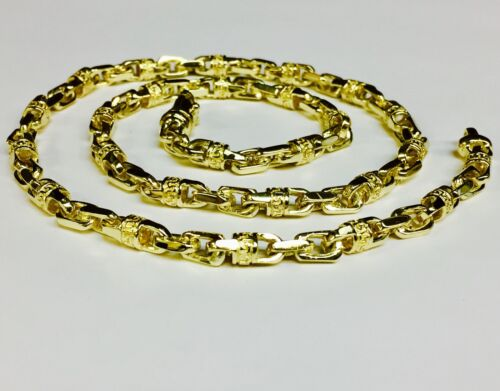 18k Solid Yellow Gold Handmade Link Men