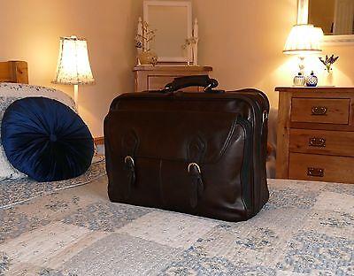 Hidesign Minister Mens Dark Brown Leather Briefcase Suitcase Suit Weekend Bag