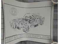 "18"" x 24/"" Giclee Green AC SHELBY FORD COBRA BRG 427 RACE CAR ART POSTER PRINT"