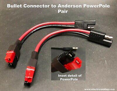 Bulletsae Connectors To Connector Fits Anderson Powerpole 12 Gauge Pair