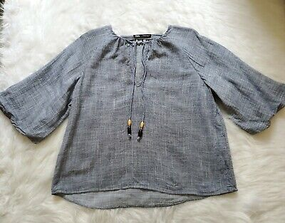 ZARA Women's 3/4 Sleeves Blue Blouse With Strings Sz M