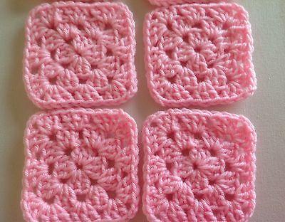 "20 4"" PINK Hand Crocheted GRANNY SQUARES Afghan Yarn Throw Blanket Blocks"