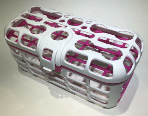 MUNCHKIN Deluxe White/Pink Deluxe Dishwasher Basket - Pacifiers Nipples Utensils