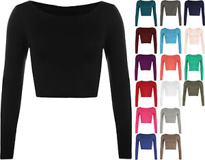 New-Womens-Crop-Basic-Long-Sleeve-T-Shirt-Ladies-Short-Plain-Round-Neck-Top-8-14
