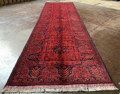 Fine Quality Hand Knotted Afghan Veg Dyed Khal Muhammadi Wool Area Runner 10 x 3